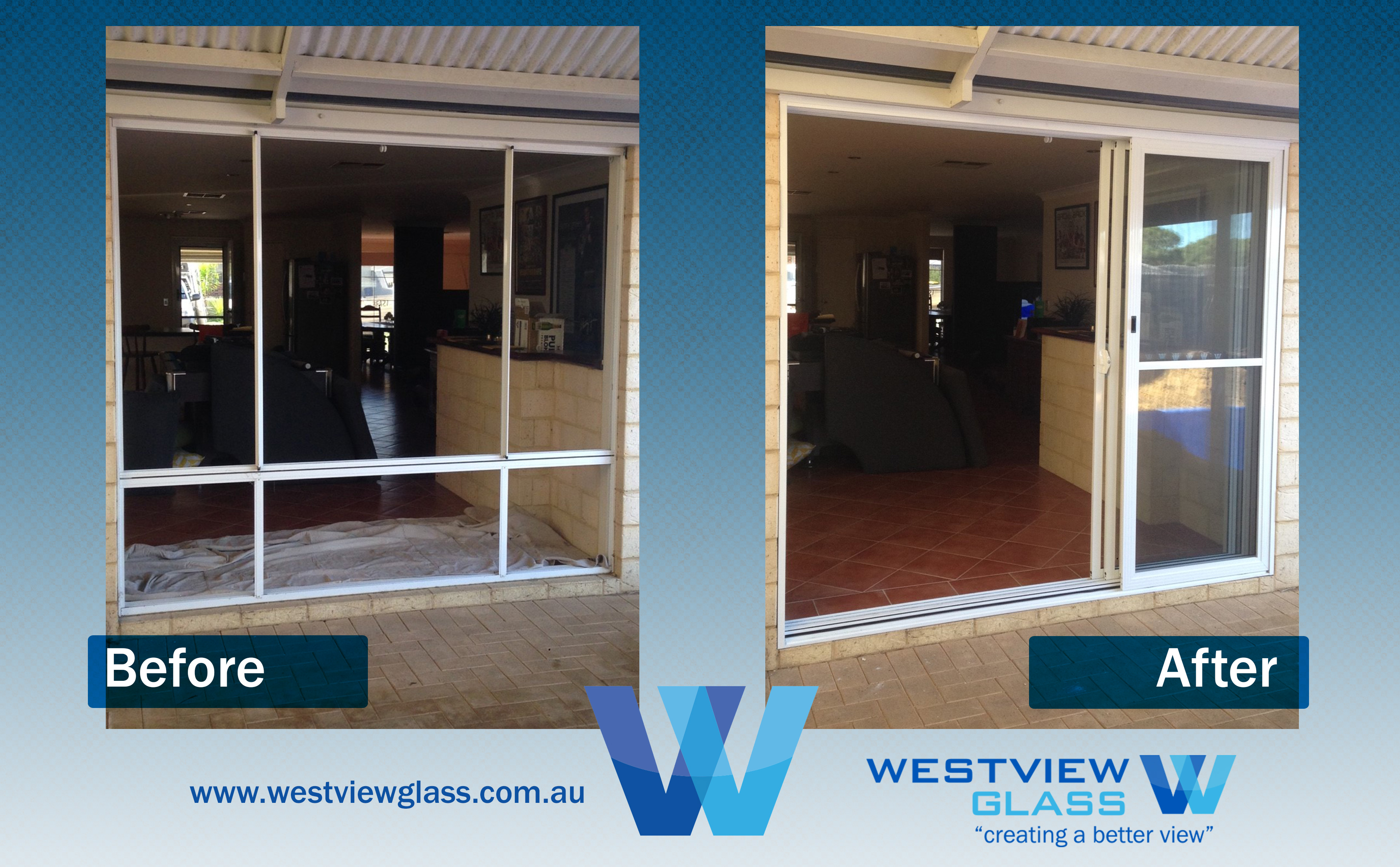 Multistack - 6lite Window = 3lite Magnolia with Fly doors - Sliding Door Installation Perth