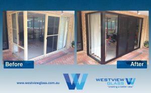 Sliding Door _ Fixed 100x44 - Doeskin Window _ 3lite Door = Black 4lite with Invisigard _ 100x44 Fixed Sliding Door Installation Perth